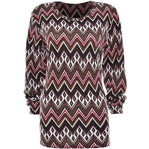 Damen Feinstrick Oversize lang Langarm Bluse Übergrößen Long T Shirt Body 20964, Farbe:Rot;Größe:XL / XXL