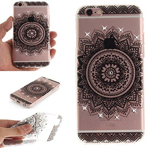 """Coque iPhone 6s, SsHhUu Ultra Mince [Crystal Diamonds] Flexible Caoutchouc Doux TPU Étui Bumper Silicone Gel Anti-Scratch Cover pour Apple iPhone 6 / 6s (4.7"""") Mandala Noir Mandala Noir"""