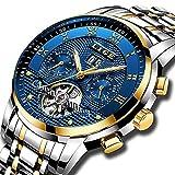 Relojes Lujo Automático Reloj Mecánico Hombres Negocio de Acero Completa resistente al agua macho reloj de pulsera Oro