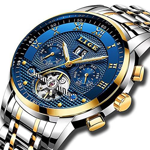 Herrenuhren Luxus automatische mechanische Uhr Herren Full Stahl Business Wasserdicht Armbanduhr Gold