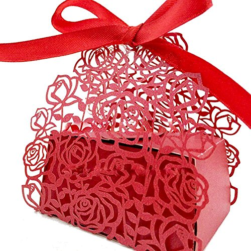 PONATIA 50 pcs Roses Flowers Wedding Candy Box Chocolate Candy Holders Bomboniere Party Favors - Shimmering Laser Cut with Ribbons for Bridal Shower,Wedding,Party,Birthday Gift (Red) (Candy-wrapper-schmuck)