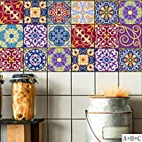 liuhoue Combination Tile Sticker, Home Kitchen Bathroom Square Tile Wall Sticker Waterproof Paper (Pack Of 3)