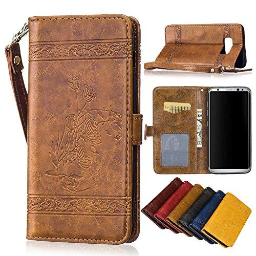 Samsung Galaxy S8 Hülle, Galaxy S8 Schutzhülle, Alfort Retro Öl Wachs Muster geprägte Schnalle PU Leder + TPU Hülle Wallet Case für Samsung S8 5,8