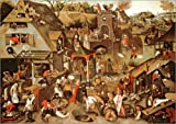 Stampa su legno 130 x 90 cm: Netherlandish Proverbs illustrated in a village landscape di Pieter Brueghel d.J. / Bridgeman Images