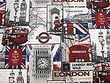 Dekostoff, Baumwollstoff, Meterware ab 0,5 m, London Underground