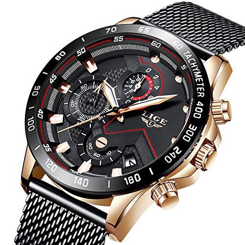 Uhren Herren Schwarz Edelstahl Mesh Band Chronograph Quarz Uhr Männer Datum Kalender Wasserdicht Multifunktions Armbanduhr (Herren-uhren Schwarz)