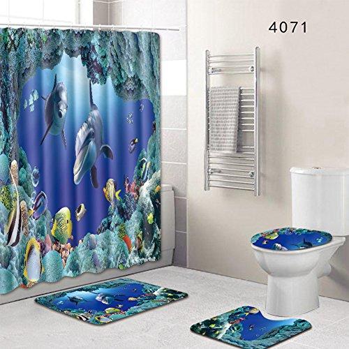 4-teiliges Set Badezimmerteppich, Duschvorleger, Badvorleger, WC-Deckel, Rutschfeste Badezimmer-Duschvorhang-Matte, Stil 1, Free Size