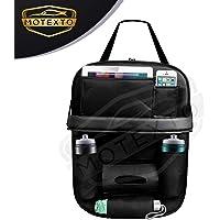 MOTEXTO Universal Black PU Leather Foldable Car Back Seat Organizer