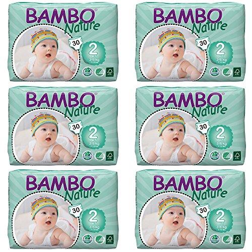 Minipañales Bambo tamaño 2 (de 3a 6kg), 6 paquetes de 30 unidades (180 unidades en total)