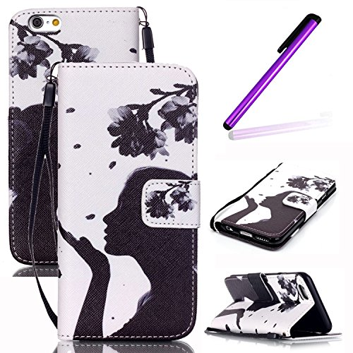 iPhone 4S Coque Portefeuille Cuir Housse Flip Etui,iPhone 4S Coque bleu,iPhone 4S Coque Femme,iPhone 4 / 4S Leather Wallet Case Cover Skin,EMAXELERS iPhone 4S Etui de Protection Case Cover PU Cuir Por Girl and flowers