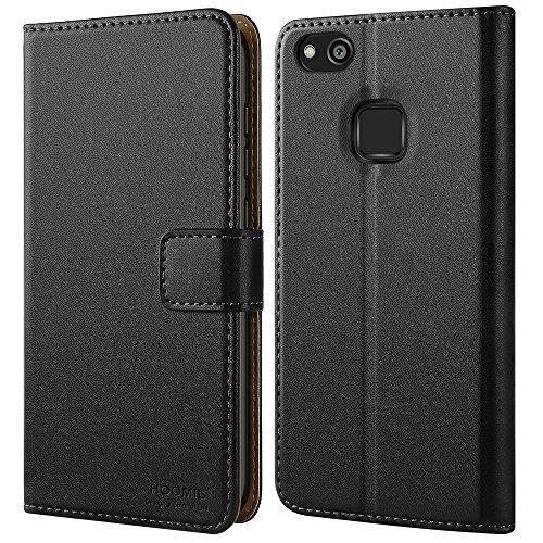 Huawei P10 Lite Hülle, HOOMIL Handyhülle Premium Leder Tasche Flip Case Schutzhülle für Huawei P10 Lite - Schwarz (H3172) (Schwarz 10 Leder)
