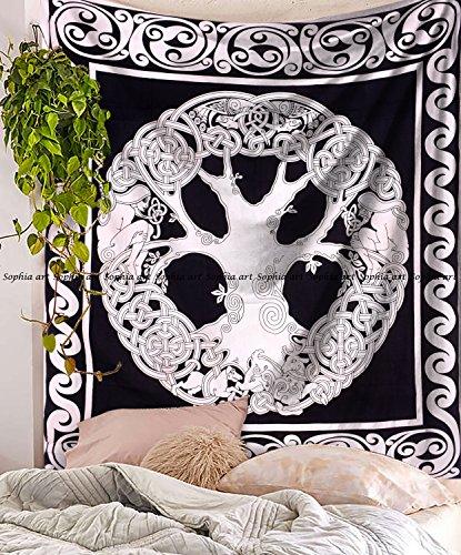 weiß, Keltischer Baum des Lebens Wandteppich, Tree of Life Hippie Wandteppiche Wandbehang, Baumwolle Tagesdecke Bed Sheet, Bohemian Boho Überwurf ()