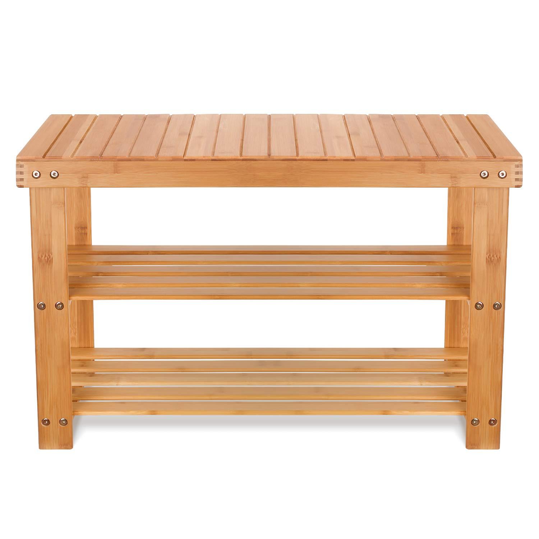 Homfa Bambus Sitzbank Mit Schuhregal 3 Ablage 70x28x45cm