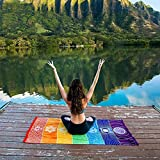 Esterilla de yoga tapiz Rainbow 7Chakra rayas toalla de playa verano colgar en la pared mandala manta viaje Protector solar chal Hippy Boho.