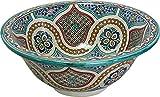 Orientalisches handbemaltes Keramik Waschbecken - Meknes - Gemalt innen heraus Di 40 H 16 cm