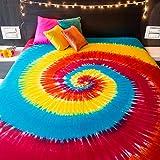 Spiral Tie Dye Wandteppich für Bohemian Hippie Mandala Tagesdecke indischen Betten für Schlafzimmer College Wohnheim Zimmer Home Decor oder Strand Picknickdecke–Queen Size Rainbow Boho Gypsy verteilt
