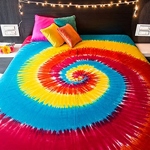 Spiral Tie Dye Tapestry Wall Hanging Bohemian Hippie Mandala Bedspread Indian Bedding for Bedroom College Dorm Room Home Decor or Beach Picnic Blanket - Queen Size Rainbow Boho Gypsy Spread