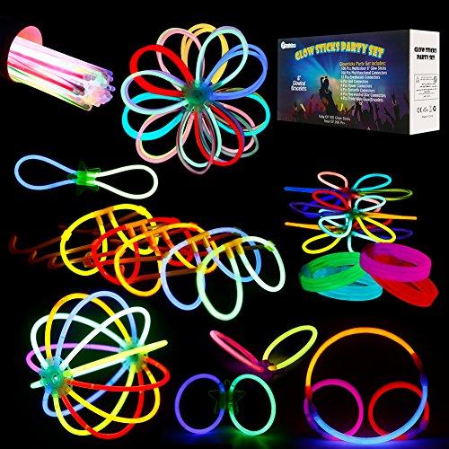 ThinkMax 100 8 ' Luces Químicas con Accesorios, Pulseras Resplandecientes Gafas Bolas De Flores Paquete De Fiesta De Mariposas - Total De 266 Piezas (100 Piezas con Accesorios)