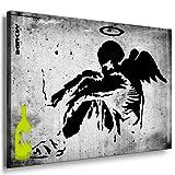 Bild auf Keilrahmen - Banksy Graffiti Art Smoking Angel - Fotoleinwand24 / AA0125 / Grün / 60x40 cm