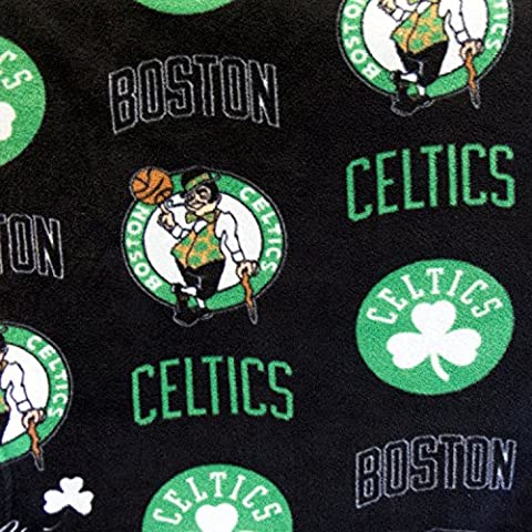 Fleece Print Boston Celtics Black 58 Inch Wide Fabric by the Yard (F.E.®) by The Fabric