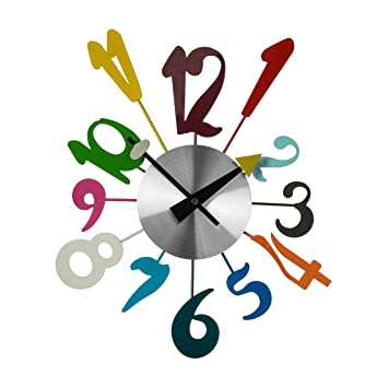 Wall Clock Home Bedroom Living Stylish Kids Design Funky Decoration  Designer Gift Children  Funky Multi Colour   Amazon co uk  Kitchen   Home. Wall Clock Home Bedroom Living Stylish Kids Design Funky
