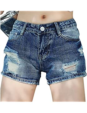 LINNUO Pantaloncini Donna Jeans Stretch Vita Bassa Strappati Distressed Pantaloni Hot Corti Estivi Shorts Denim...