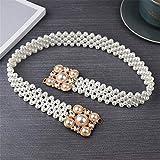 GENDOOD Cinturón decorativo de la cadena de la flor de la cadena de la perla tejida a mano de las mujeres, hebilla de la perla