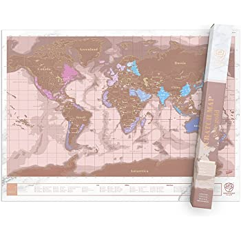 Luckies Of London World Map Scratch Map Rose Gold Amazon Co Uk