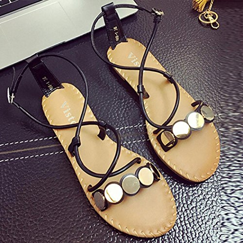 Kaiki Frauen Kreuz Riemen Römische Sandalen Casual Flat Bottom Wölbung Schuhe Black