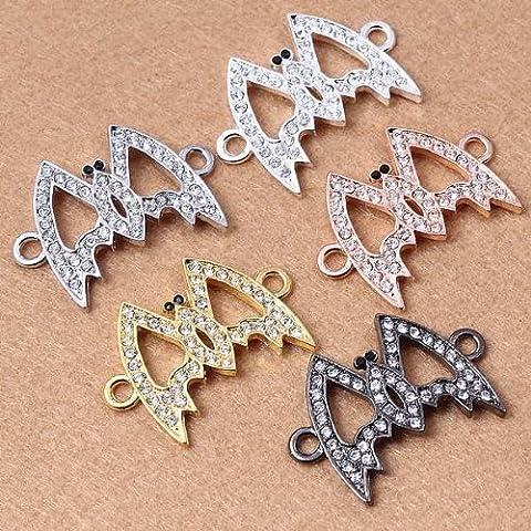 Lot de 5 assortis Métal en forme de chauve-souris-Bijoux Strass Cristal Perle lien & Connecteur CA126 (couleurs au choix)