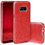 EGO Mobile Samsung Galaxy S8 Plus (G955) Hülle Silikon Glitzer Tasche Glänzende Schutzhülle mit Glitter Design für Samsung Galaxy S8 + (G955) Case Cover Rot