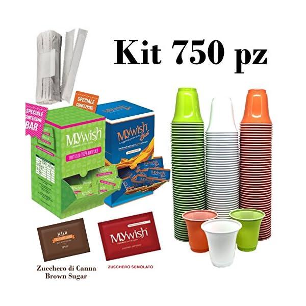 Kit Caffè, 750 Bicchieri  ECO +300 Dolcificante +450 (Zucchero-CANNA-FRUTTOSIO) 1 spesavip