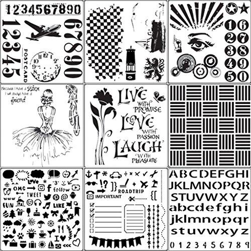 Dabixx 9 Stücke Anzahl Zeichnung Airbrush Malerei Schablone DIY Handwerk Album Scrapbooking Decor Weiß