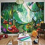 Fototapete Dekor Wallpaper Benutzerdefinierte 3D Handgemalte Wald Pilz Straße Kinder Zimmer Wand-Dekor Tapeten Für Wohnzimmer Wandmalerei, 430 Cm X 300 Cm