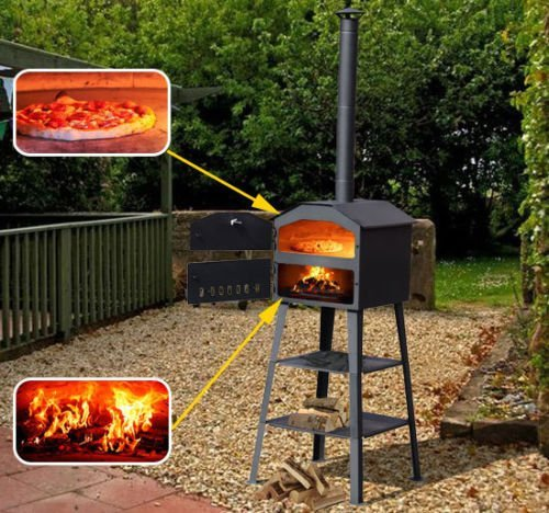 Outsunny 01-0333 New Patio Outdoor Garden Pizza Oven BBQ Barbecue Grill Maker Heating Heat Smoker - Black