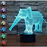 WAOBE 3D Illusion Lampe Elephant Effect Night Light 7 Farben mit Touch-Schalter USB-Kabel Nizza Geschenk Home Office Dekorationen , Touch