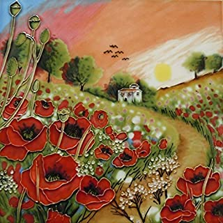 Poppy Sunset by Judith Yates 8 x 8 Decorative Ceramic Picture Art Tile Cottage & Flowers Gift