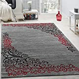 Paco Home Tapis Design avec Motif Floral Fil Scintillant Rouge Gris Anthracite...