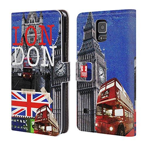 Head Case Designs Gipfel I Love London Leder Brieftaschen Huelle kompatibel mit Samsung Galaxy S5 / S5 Neo (Samsung Case Galaxy London S5)
