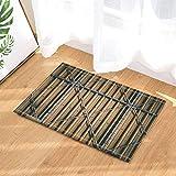 FEIYANG Wooden Gate with Metal of Factory Bath Rugs Non-Slip Doormat Floor Entryways Indoor Front Door Mat Kids Bath Mat 60X40CM Bathroom Accessories