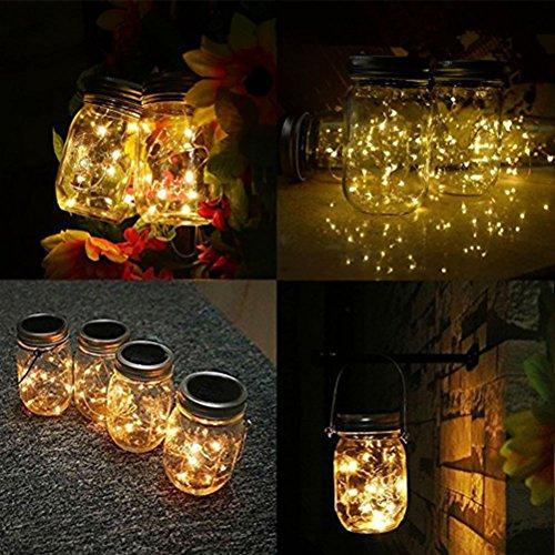 LEDMOMO Solar Mason Can Lid Cap String Light - 1M 10 LEDs Fairy Light String Light for Garden Yard Home (Warm White Light)