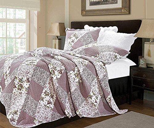 Luxus Blumen 3 Stück Gestepptes Vintage-Patchwork Tagesdecke, Reversibel Embroidered Tröster Set, Bed Throw Mit Kissenbezug (Einzelbett, Orchidee)