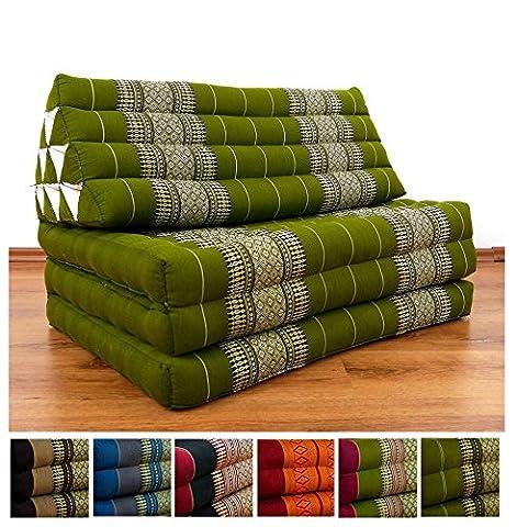 XXL Thaikissen im Jumbo Format, Thaikissen der Marke Asia Wohnstudio, Dreieckskissen mit 100% Kapokfüllung, Thaimatte, (grün)
