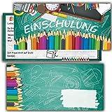 Kartenversand24 Einschulung Einladungskarten mit Umschlägen (12er Set) zum Schulanfang Einladungen für Kinder zum Schulbeginn Junge Mädchen
