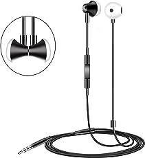Auricolari Qcoqce Cuffie in ear Stereo Universale,Auricolari con microfono per Smartphone con jack 3,5 mm,Cuffie Magnetiche ideali per ascolta musica,lo sport, studia.