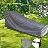 mychoose Garden Sunbed Cover Sunlounger Covers Waterproof Outdoor Patio Sun Lounger Furniture Set Cover Wooden Rattan Deck Chair Protection 82x30x16/31inches(1, Grey)