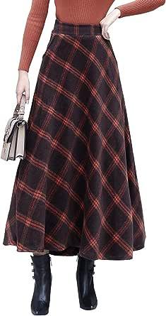 Donna Vintage Elegante Plaid a Strisce Lunga Gonna di Lana Svasata Ragazza Moda Caldo Vita Alta Autunno e Inverno Gonne Vita Elastica