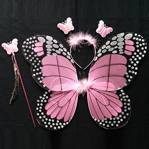 Damjic Halloween Kinder Schmetterlingsflügel Prinzessin Kostüm Mädchen. B