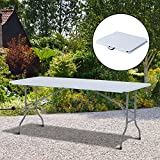 Outsunny 1.8 m Outdoor Garden Heavy Duty Portable Camping Party Dining Foldable Table - White/Grey