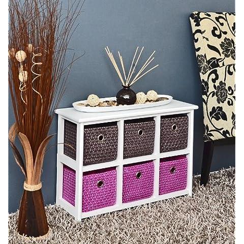 Cómoda, mesa de noche, aparador armario 62 x 43 cm, en blanco estanterías para baño con cestas de colores 2 x 3 para dormitorio de niños, oficina, baño, pasillo y dormitorio de